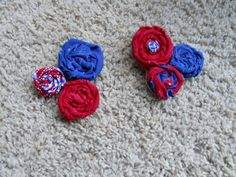 4TH OF JULY hair bow - 3 rosettes clip only. $5.00, via Etsy.