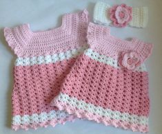 Crochet baby girl dress with Headband PDF Pattern by SueStitch, $4.50