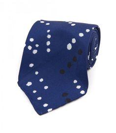 Navy Painted Spot Print Silk Tie | Drake's