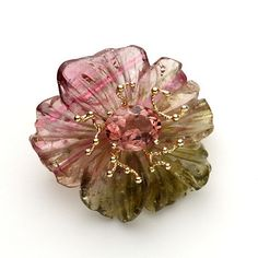 Russell Trusso Carved Tourmaline Brooch
