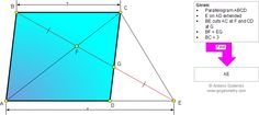 Geometry Problem 864: Parallelogram, Diagonal, Congruence, Similarity, Metric Relations. Teaching, School, College, Mathematics Education