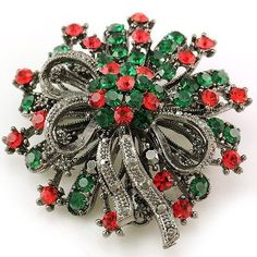 Antique Vintage Design Christmas Wreath Flower Brooch Pin For Pendant Necklace