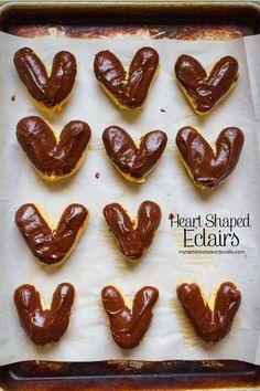 This classic eclair recipe is transformed into adorable hearts!  The perfect romantic dessert for Valentine's Day!  |  My Name Is Snickerdoodle
