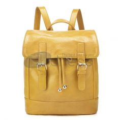 Yellow oil leather shoulder bags