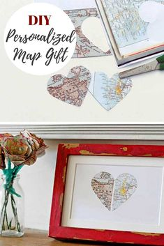 Make a thoughtful personalized map gift with a paper map heart in a painted IKEA Ribba frame. A lovely gift for Valentine's, Brithday or Anniversary