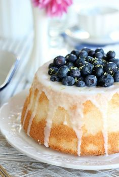 This blueberry lemon angel food cake is a delicious showstopper that's easy to throw together. Perfect for any celebration or just-because! #healthyeating #healthyeatingplan #healthandfitness #healthylifestyle
