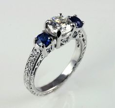 14k white gold 3-stone engagement ring with diamond and sapphires