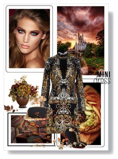 """""""Holiday Chic: Mini Dress"""" by dezaval ❤ liked on Polyvore featuring Nearly Natural, Charlotte Tilbury, Roberto Cavalli, Alexander McQueen and Christian Louboutin"""