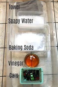 This simple science experiment combines baking soda and vinegar with pretend play, perfect for toddlers! An erupting car wash engages all the senses.
