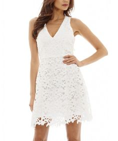 Another great find on #zulily! White Lace Overlay Bodycon Dress #zulilyfinds