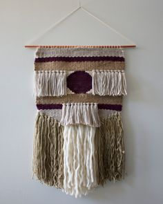Hand Woven Wall Hanging / Textile Art : Plum, Silver, Gold, Jute by 01JACKSON on Etsy