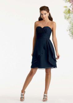 2015 Sweetheart Sleeveless Navy Ruched Chiffon Short Bridesmaid / Prom Dresses By Jordan 550