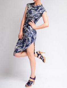 Blue Modern City Cotton Cap Sleeves Cheong-sam Qipao Cocktail Dress