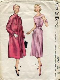 Sewing Patterns,Vintage,Out of Print,Retro,Vogue Simplicity McCall's,Over 7000 - McCall's 3009 Retro 1950's 1954 Dress Coat Ensemble 34