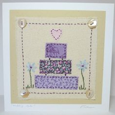 Embroidered Wedding Cake Card with buttons and vintage and recycled fabrics including Liberty Tana Lawn