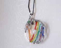 Chakra Regenbogen Acryl Glas Kette Regenbogenelfe/Anhänger Achat Fee Edelstein