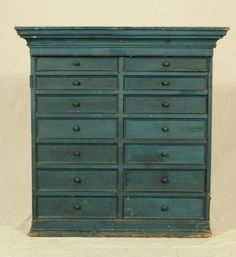 14 Drawer Blue Painted Hanging Cupboard