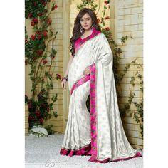 Off White Jacquard #Wedding #Saree With #Blouse