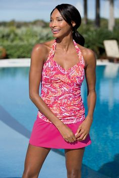 """""""Shop Chadwicks of Boston for our Paisley Tide Water Ruched Halter Skirtini by Shape Benefits. Browse our online catalog for more classic clothing, shoes & accessories to finish your look. Bathing Suit Dress, Bikini, Classic Outfits, Swimsuits, Swimwear, Mom Style, What To Wear, Paisley, Active Wear"""