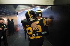 What is the story behind Ben Roethlisberger and James Harrison's pregame hug tradition? James Harrison, Ben Roethlisberger, Steel Curtain, Pittsburgh Sports, Football Helmets, Big Ben, Penguins, Cool Photos, Nfl