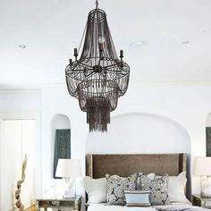 Whimsical Bedroom with Elegant Unique Chandelier Home Bedroom, Bedroom Furniture, Home Furniture, Bedroom Decor, Serene Bedroom, Bedroom Interiors, Bedroom Ideas, Whimsical Bedroom, Traditional Home Magazine