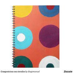 Composicion con circulos libros de apuntes con espiral