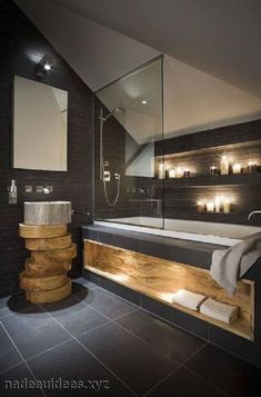 salle-de-bain-noire-et-bois.jpg (662×1004)