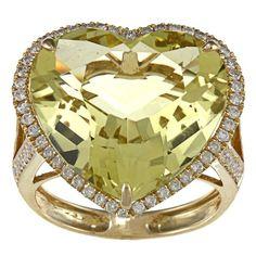 Gold Lemon Quartz Diamond Heart Ring - -BUY NOW @  http://mkt.com/allurfixins-dot-com