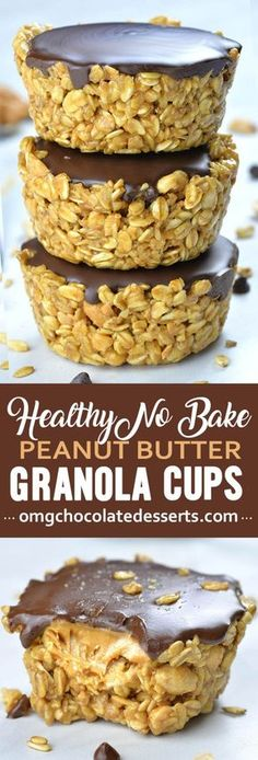 If you are looking for healthy and easy recipes to make ahead and have on hand when you need little boosts of energy these Healthy No Bake Peanut Butter Granola Cups are perfect. Recipes cookies No Bake Peanut Butter Granola Cups, great vegan snack Healthy Dessert Recipes, Healthy Sweets, Vegan Snacks, Healthy Baking, Delicious Desserts, Yummy Food, Easy Peanut Butter Recipes, Simple Healthy Snacks, Peanut Snacks