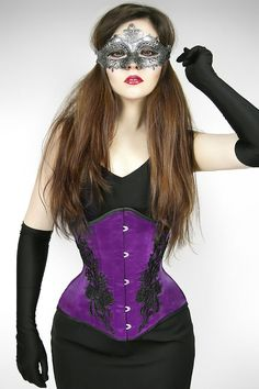 Serre Taille Corset Gothique Victorien Romantique Violet Lily of the Valley