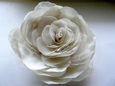 Wedding Flower Accessory White Wedding Flower by TwoCatsAndAnOwl