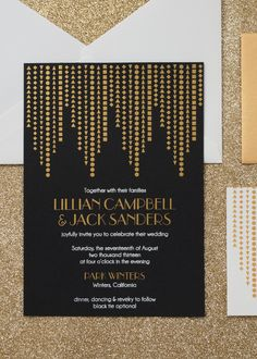 Modern Black, White & Gold Art Deco Wedding Invitations by Three Little Words Art Deco Wedding Invitations, Vintage Wedding Invitations, Invites, Gold Wedding Colors, Gold Wedding Decorations, Wedding Themes, Black And White Wedding Invitations, Wedding Photography Pricing, Creations