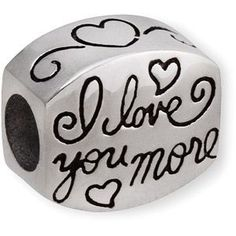 "Connections from Hallmark Stainless Steel ""I Love You More"" Charm"
