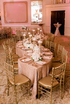 A Blush and Gold Wedding That's Gorgeous to The Max – Wedding Planning Rose Gold Theme, Gold Wedding Colors, Gold Wedding Theme, Pink And Gold Wedding, Rose Gold Weddings, Wedding Blush, Quince Decorations, Quinceanera Decorations, Wedding Reception Decorations