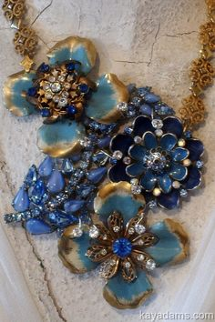 Collage Necklace.  Hues of Blues.  A3556 Kay Adams.