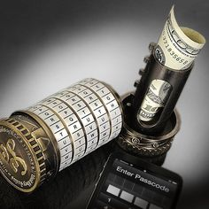 Handheld Cryptex Safe: Store money, jewelry, important documents, and more! Get it HERE: http://www.thegiftsformen.com/handheld-cryptex-safe.php