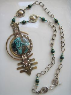 Necklace | The Dancing Gecko Designs. 'Earth Bound'.  Malachite with Chrysocolla, silver and brass, Chrysocolla gemstones and Swarovski crystals.