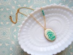 the high seas vintage ship necklace nautical jewelry mint green jade