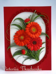 Quilling greeting card - Red gerbera daisies - Birthday quilling greeting card - Anniversary quilling greeting card - Quilled card - Red flowers