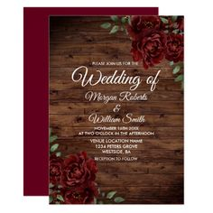 Burgundy Red Rose Rustic Wood Wedding Invitation Wood Wedding Invitations, Burgundy Wedding Invitations, Bridal Shower Invitations, Quince Invitations, Invites, Floral Wedding, Rustic Wedding, Wedding Ideas, Wiccan Wedding