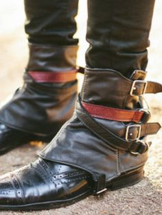 The Everyday Goth: Accessory Appreciation: Spats, not just for steampunk Steampunk Spats, Your Shoes, Men's Shoes, Shoe Boots, Dress Shoes, Criss Cross, Shoes Brown, Everyday Goth, Oxblood