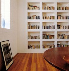 built in wall shelves, home library Floor To Ceiling Bookshelves, Bookshelves Built In, Built Ins, Book Shelves, Shelves Built Into Wall, Bookshelf Wall, Modern Bookshelf, Billy Bookcases, Bookshelf Ideas