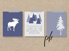 little boy nursery decor printables. Wilderness, moose, mountains, pine trees