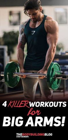 If your plan is to develop big and impressive arms then you really need to check out these 4 KILLER workouts that will help you achieve just that. The workouts are divided into four different groups based on four different goals - gain mass, definition, shorthead and biceps peak. Check them out! #fitness #workout #arms #model #exercise #gym