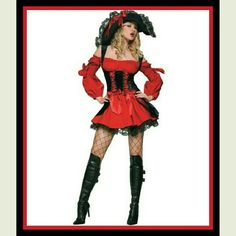 NEW...VIXEN PIRATE WENCH Aye, find yourself looking like a treasure this Halloween in this sexy pirate wench costume and get yourself some sweet mouth watering treats. The dress is ribbon laced and accented with bows for a flirtatious hint of the vixen inside. NEW. SORRY NO TRADES. Leg Avenue  Other