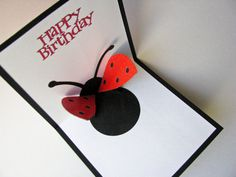 Ladybug Birthday Popup Card by PaperCompositions on Etsy by ann Ladybug Crafts, Ladybug Party, Homemade Birthday Cards, Funny Birthday Cards, Pop Up Cards, Cool Cards, Daughter Birthday Cards, Tarjetas Pop Up, Paper Pop