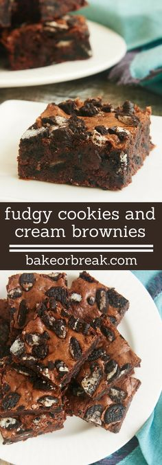 Rich, fudgy brownies and Oreos combine for these amazingly delicious Fudgy Cookies and Cream Brownies! - Bake or Break ~ http://www.bakeorbreak.com