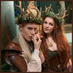 "Elven King and Queen at the Samhain Ball » LARP costume. myelvenkingdom: ""My dear and ever so talented, Ian Hencher and myself at the throne -wearing the new woodland crowns I made for us!"""