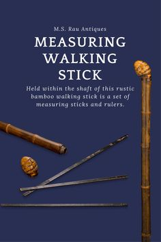 Held within the shaft of this rustic bamboo walking stick is a set of measuring sticks and rulers.Provenance: Catherine Dike cane collection ~ Carved walking sticks, Unique Walking Sticks, System Canes, For Sale ~ M.S. Rau Antiques