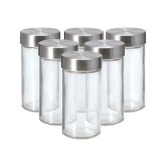 This Set of 6 Glass Spice Jars with Stainless Steel Caps, by Kamenstein, are constructed of clear glass, with stainless steel twist-off caps, making it easy to see when your...